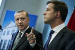 Prime Minister Rutte and Prime Minister Erdogan in debate. Fotocredit: ANP.