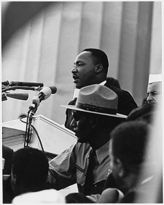 "Dr Martin Luther King, Jr., speaking at the Civil Rights March in Washington D.C., in August 1963, four months after writing ""Letter from Birmingham Jail"""