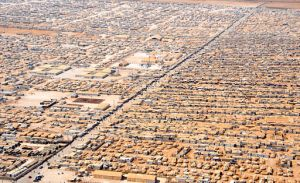 An aerial view of Za'atri Refugee Camp for Syrian Refugees in Jordan. Public Domain, obtained via Wikimedia
