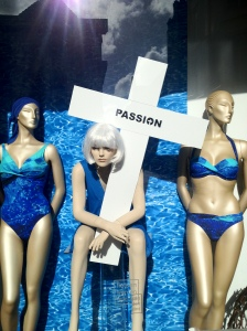 """A window display in Groningen as retailers attempt to cash-in on """"Passion fever"""""""