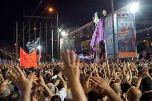 """A rally in support of the """"No"""" Vote in the Greek referendum against the austerity reforms being demanded by the EU, Syntagma Square, Athens, 3 July 2015. Source: Ggia, Wikimedia Commons, Shared Under Creative Commons License 4.0"""