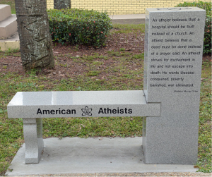 Bench put up by the organization American Atheists at Branford County, Florida courthouse