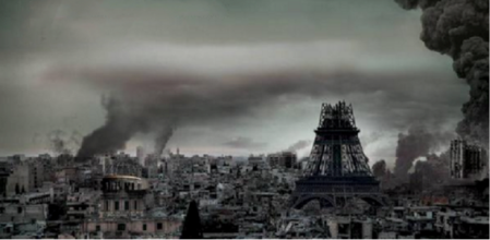 """This image was being shared by IS supporters on the day after the Paris attacks. One of them commented: """"How the French Kuffar are feeling this morning. Streets deserted, everyone in fear and terror struck in their hearts"""""""