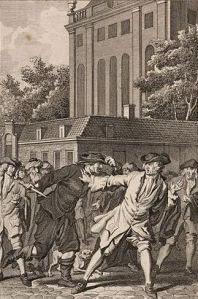 An image of the great Dutch philosopher Spinoza, a key thinker of the Enlightenment, from Overval op Spinoza. Uit: Historie der Joden, vervolg op Flavius Josephus; bij J. van Gulik, Amsterdam. 1784. Afmetingen: 133x89 mm